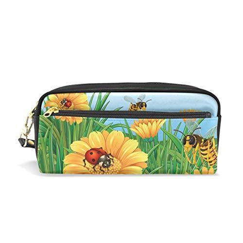 Eslifey Ladybugs girasoles bolsa portátil piel sintética