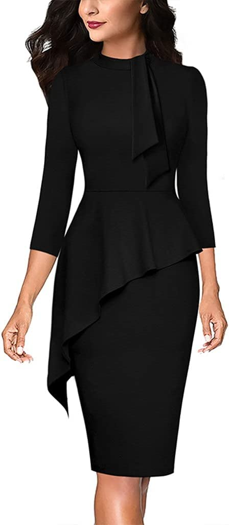 XJJZS Womens Bow Tie Neck Asymmetrical Peplum Slim Fitted Cocktail Work Business Office Party Bodycon Sheath Dress (Color : B, Size : S code)