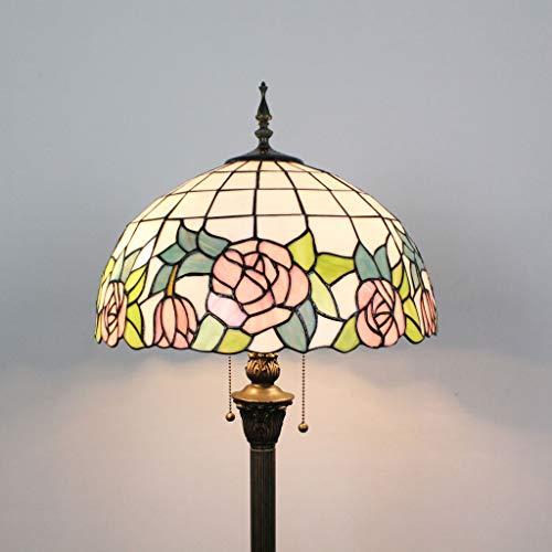 Gweat Tiffany Lámpara de pie Creativa Creativa del sofá del salón de la Sala de Estar del Dormitorio de la Sala de Estar del café de la Vitrina de la Flor de 16 Pulgadas