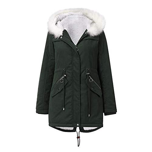 YYNUDA Abrigo de invierno para mujer, parka, chaqueta de invierno forrada, chaqueta larga con capucha de pelo de algodón verde XL