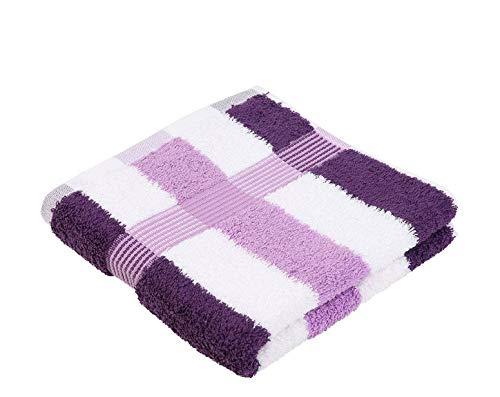 Gözze New York Handtuch, 2er Set, 100% Baumwolle, flieder/weiß/dunkellila, 50 x 100 cm, 555-9300-4