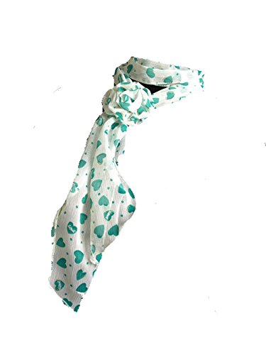 Pamper Yourself Now Weiß mit grünem Herz kleinen Schal mit Clip (White with green heart small scarf with clip)