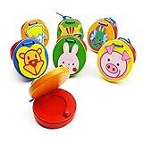 Supvox 6 Piezas Castañuelas de Dedo de Madera Redondo Patrón Animal Lindo Badajo Musical Instrumento de Percusión para Niños Bebés