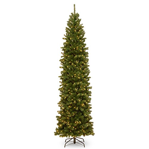 National Tree Company Pre-lit Artificial Christmas Tree | Includes Pre-strung White Lights and Stand | North Valley Spruce Pencil Slim - 10 ft