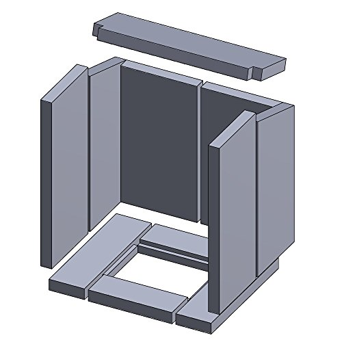 Flamado Feuerraumauskleidung Komplettset 11-teilig passend für Hark Kamin Ersatzteile Kaminofen Brennraumauskleidung Vermiculite 1.150°C