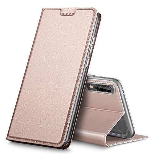 Verco Handyhülle für P20, Premium Handy Flip Cover für Huawei P20 Hülle [integr. Magnet] Book Case PU Leder Tasche, Rosegold