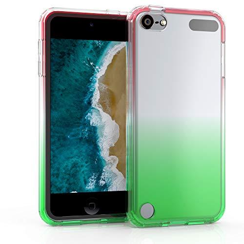 kwmobile Hülle kompatibel mit Apple iPod Touch 6G / 7G (6. und 7.Generation) - Bumper Silikon Schutzhülle - Case Zwei Farben Pink Grün Transparent