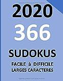 2020 366 sudokus facile à difficile larges caractères: 366 Grilles de sudoku, écrit gros, 1 grille par jour