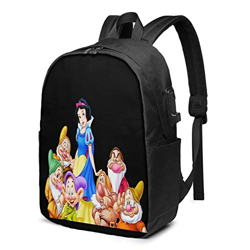 IUBBKI Bolsa para computadora mochila USB White-Sno-W-And-Seven-D-Warfs 17 Inch Laptop Backpack For Men & Women,Travel/School Backpack With Usb Charging Port & Headphone Interface
