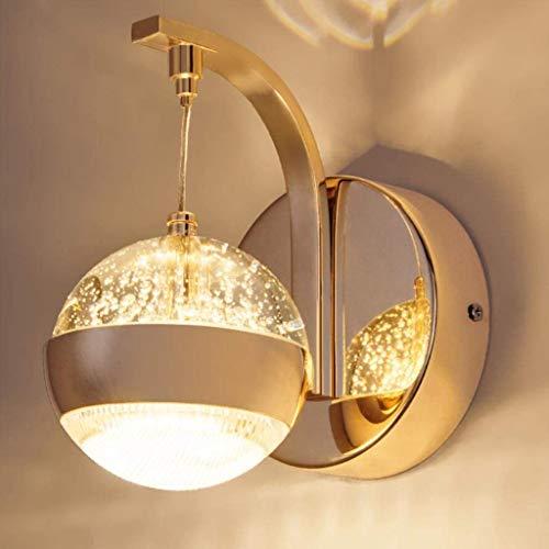 YXYOL Kreative Schmiedeeisen-runde Kugel-Wand-Licht, LED-Kristallwand-Lampen, Modern Gold Aluminium-Leuchter Lampe, Schlafzimmer Korridor Wohnzimmer Kristall Wandleuchten, 8W