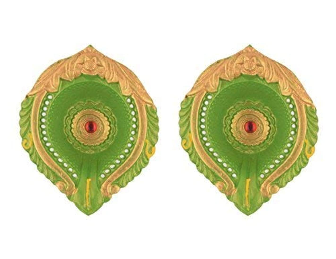storeindya Set of 2 Oil Lamps Diyas Handmade Decorative Clay Candle Tea Light Holder Green Terracotta Clay Floor Décor