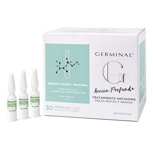 Germinal Acción Profunda - Sérum facial Antiaging para pieles mixtas y grasas, con Aceite de Rosa Mosqueta, Vitamina E y extractos de Kigelia - 30 ampollas de 1,5ml