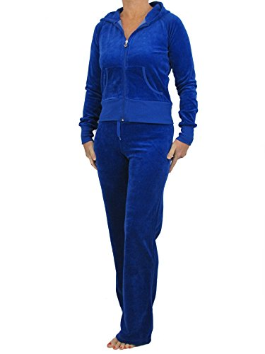 Love Lola Damen Velour Trainingsanzug Damen Full Luxury Jogginganzug Hoodys Hoodies Jogginghose Heart Designer Inspired Übergrößen ( 16-18 / X-Large, Royal Blue )