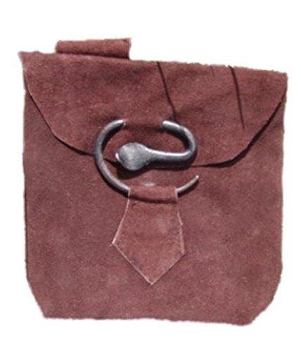 Dark Dreams Gothic Mittelalter LARP Tasche Beutel Gürteltasche aus Leder, Farbe:braun