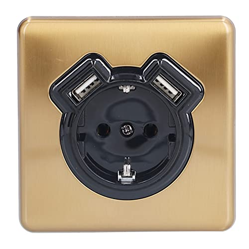 Enchufe de pared, accesorio de fuente de alimentación eléctrica de bronce retro europeo con doble USB para dormitorio, cocina, 250 V