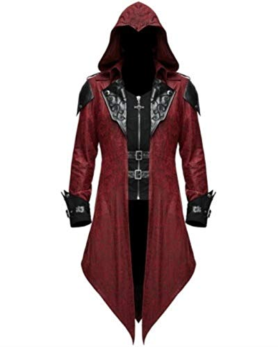 Masquerade Punk Cosplay Demon Style Fashion Men Goth Hooded Jacket Red XL
