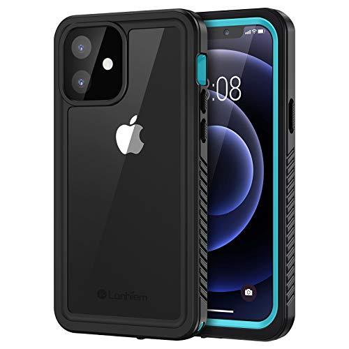 Lanhiem Cover iPhone 12 (6.1'),Custodia Impermeabile iPhone 12 5G [IP68 Certificato Waterproof] Protezione dello Schermo Antiurto Antipolvere AntiGraffio Subacquea Caso per iPhone 12,Blu