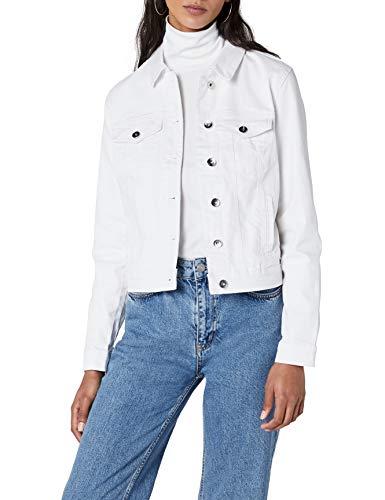 VERO MODA Damen Vmhot Soya Ls Denim Jacket Mix Noos Jeansjacke , Weiß (Bright White Bright White) , 38 (Herstellergröße: M)