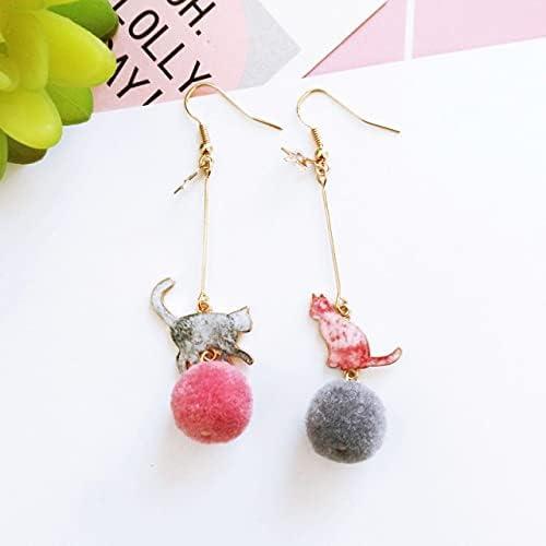 Long Section Cute Cartoon Painted Cat Hair Ball Clip on Earrings Non Pierced for Women Girl Earring Jewelr
