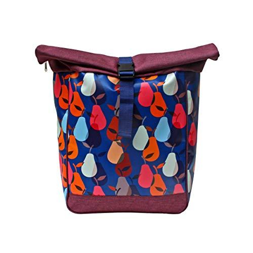 IKURI Fahrradtasche/Rucksack KOMBI Fahrradrucksack aus Plane für Gepäckträger Packtasche Wasserdicht für Frauen - Modell Peras blau