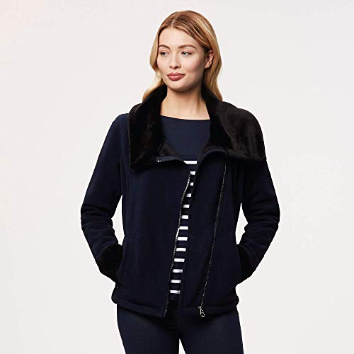 Regatta Balencia - Collar de piel sintética para mujer, Mujer, Forro polar, RWA363, azul marino y negro, 40