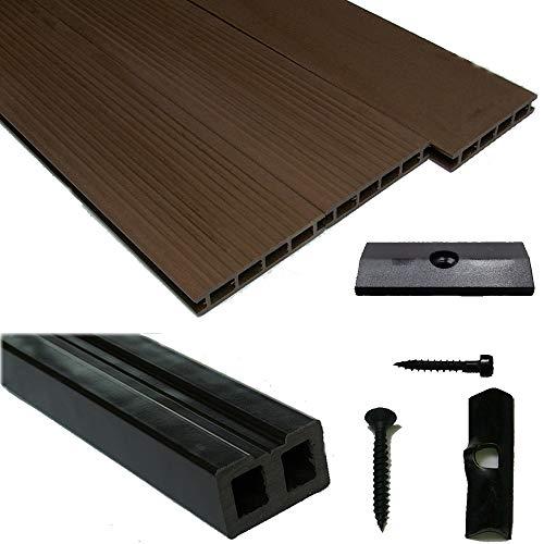 Terrassendielen WPC Komplettset WoodoBasic in braun beinhaltet: WPC Diele 4 m lang, Unterkonstruktion, Verbindungsclipse, Anfang- und Endclip (45,85 € / m²) (5 m²)