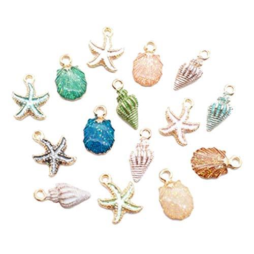 Onsinic 15 Pc/De La Aleación Pequeño Colgante Estrellas De Mar Caracola Accesorios De Bricolaje para La Pulsera De Los Pendientes Pendientes