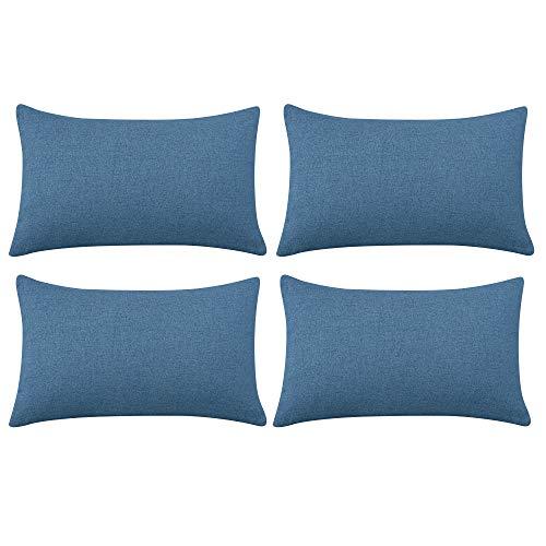 Deconovo Juego de 4 fundas de cojín (lino, 30 x 50 cm), color azul