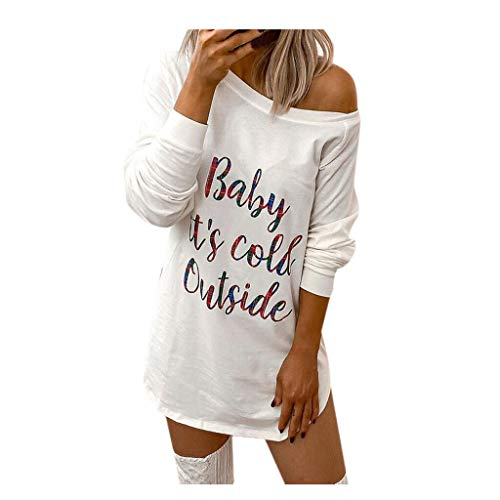 2020 Nouveauté T-Shirt Femmes Casual Col Rond Tops Pull Sweat-Shirt Blouse À Manches Longues Mini Robe Pull Tunique Baby It's Cold Outside