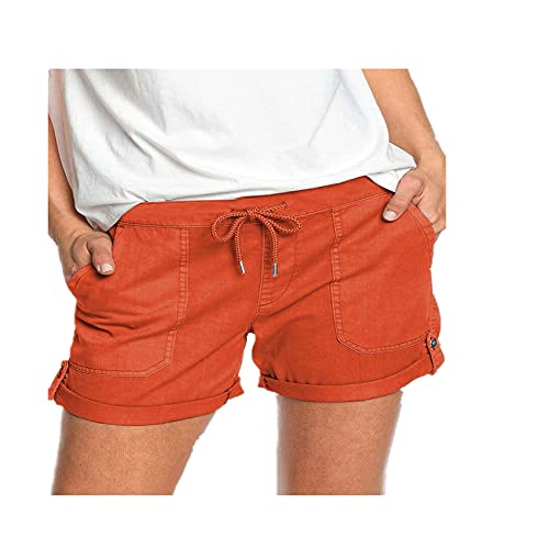 Hhckhxww Sommer Einfarbig Straight Leg Casual Pants Damenhose SchnüRshorts