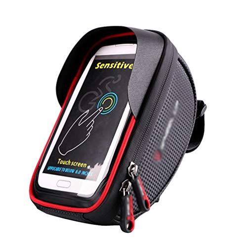 Haobing Bolsa Bicicleta Impermeable, Funda Móvil Soporte de Bici Manillar para Ciclista Ciclismo con Pantalla Táctil (Rojo, 6 Inches)