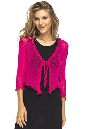 Back From Bali Womens Sheer Shrug Cardigan Sweater Ruffle Lightweight Knit Fuchsia One Size