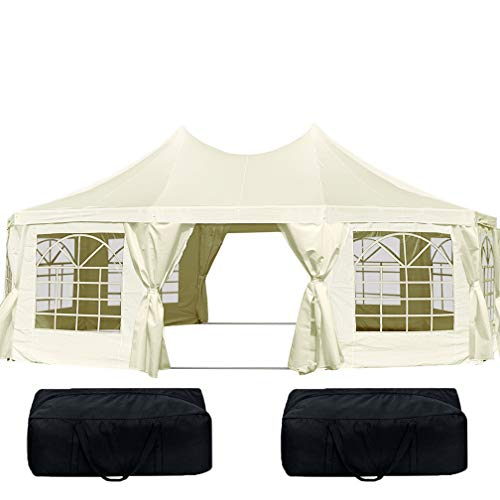 Quictent 21' x 29' Heavy Duty Outdoor Decagonal Gazebo Party Wedding Tent Canopy with Carry Bags