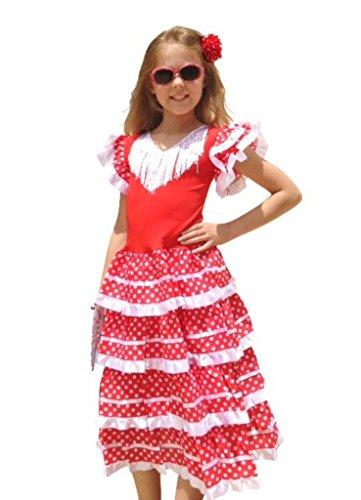 La Senorita Vestido Flamenco Español Traje de Flamenca Chica/niños Blanco Rojo (Talla 6, 110-116 - 75 cm, 5/6 años, Rojo)