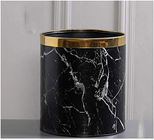 123564 Mülleimer Rund Trash Can Kleiner Papierkorb for Schlafzimmer Marmor, Trash Can Hideaway, Vorratsbehälter for Küche, Bad, Büro, Bad Multifunktionaler Mülleimer (Color : Black, Size : Small)