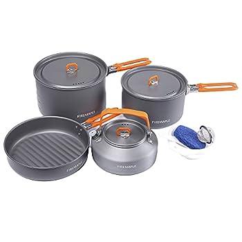 Fire-Maple Feast 4 Kit de Casseroles Camping, Ustensiles de Cuisine Cookware Kit Batterie de Cuisine Extérieure avec Casseroles, Bouilloire, Casseroles et Spatule pour Randonnée Pêche Pique-Nique