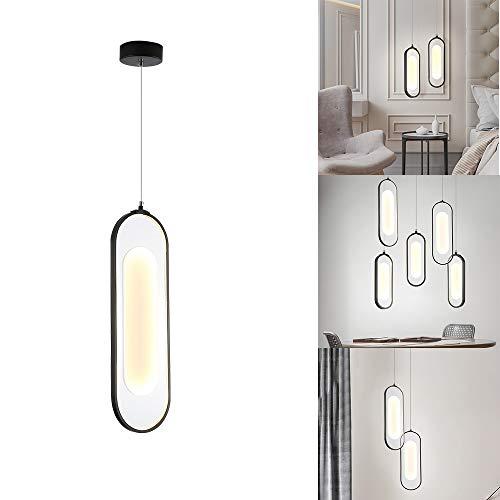 FGAITH hanglamp met een kop, modern en geraffineerd led-strijkijzer, verlichting van Ristorante met LED-verlichting, personaliseerbaar voor slaapkamer met portico decoratieve kroonluchter (zwart)
