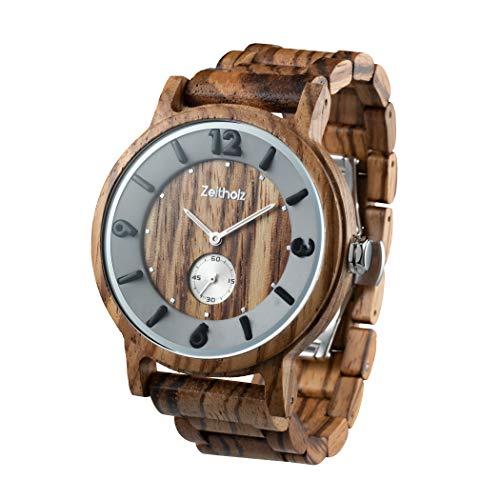 Zeitholz Holzuhr für Herren - Modell Schmiedeberg, handgefertigt aus 100% natürlichem Zebrano mit Quarzwerk - Leichte analoge Uhr mit Holzmaserung für Ihn