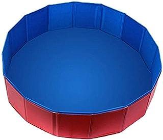 Family Swimming Pool Strong and Wear-Resistant Pet Bathing Pool,PVC Folding pet Bathtub, Large pet Paddling Pool-red_160*3...