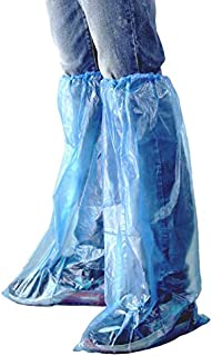 IwIeIaIrI Disposable Shoe Covers 60 Pack (30 Pairs) Blue Rain Shoes and Boots Cover Plastic Long Shoe Cover Clear Waterproof Anti-Slip Overshoe for Women Men Water Boots Cover Rainy Day Use Cover