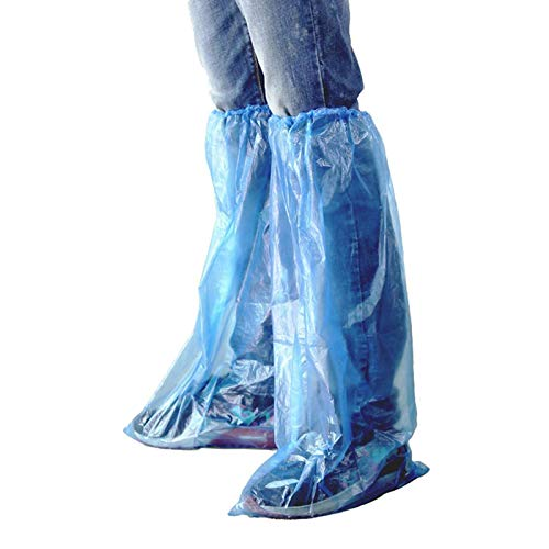 HUABEI Disposable Shoe Covers 60 Pack (30 Pairs) Blue Rain Shoes and Boots Cover Plastic Long Shoe Cover Clear Waterproof Anti-Slip Overshoe for Women Men Water Boots Cover Rainy Day Use Cover