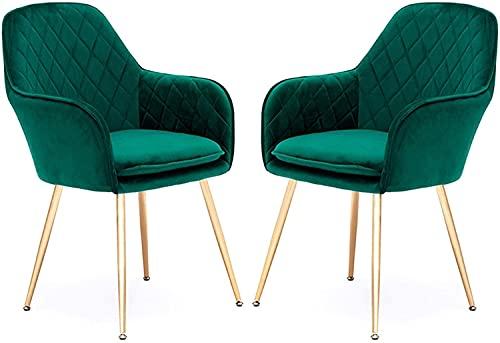 JFIA65A Moderno Juego de 2 Sillas de Comedor Sala Estar Sillas Cocina Sillas Maquillaje para Balcón Dormitorio Hogar para Un Sillón Restaurante Simple Sillas (Color : Green)