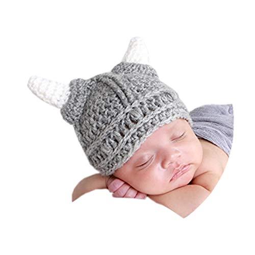 Baby Beard Viking Knit Hat Barbarian Bull Horn Crochet Handmade Knit Beanie Hat