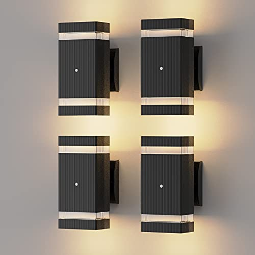 Outdoor Wall Lights, BLBAISH 4PCS Dusk to Dawn Exterior Light Fixtures Square Up and Down Outside Lights Wall Mount Waterproof Front Porch Lights for House - Black