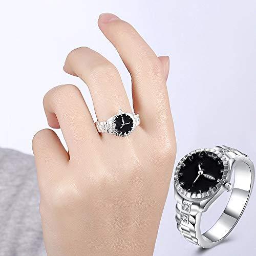 Uhren Creative-Diamant-Vorwahlknopf-Quarz-Uhr-Ring (6) Asun (Color : 7)