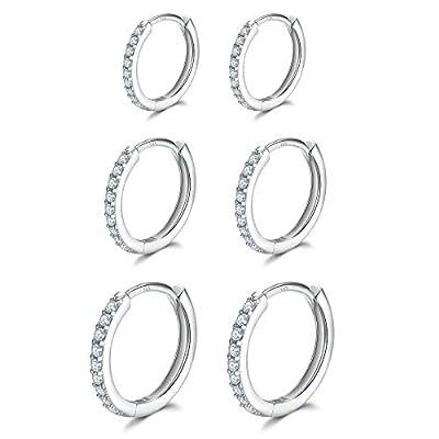 3 Pairs Sterling Silver Small Hoop Earrings Cubic Zirconia Cuff Earrings | Tiny Cartilage Huggie Hoop Earrings Piercing Jewellery for Women Girls ?8mm 10mm 12mm?