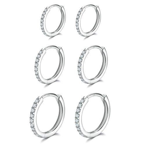 3 Pairs Sterling Silver Small Hoop Earrings Cubic Zirconia Cuff Earrings | Tiny Cartilage Huggie Hoop Earrings Piercing Jewellery for Women Girls (8mm 10mm 12mm)