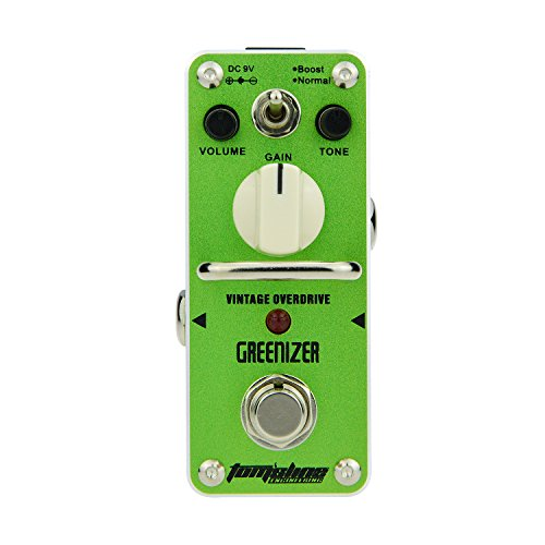 Tom'sline Engineering Effekt Gerät Effektgerät Gitarre GREENIZER AGR-3 Vintage Overdrive Sound basierend auf Tube Screamer 2 Modi Boost und normales Gitarrenpedal von Aroma Music Marke