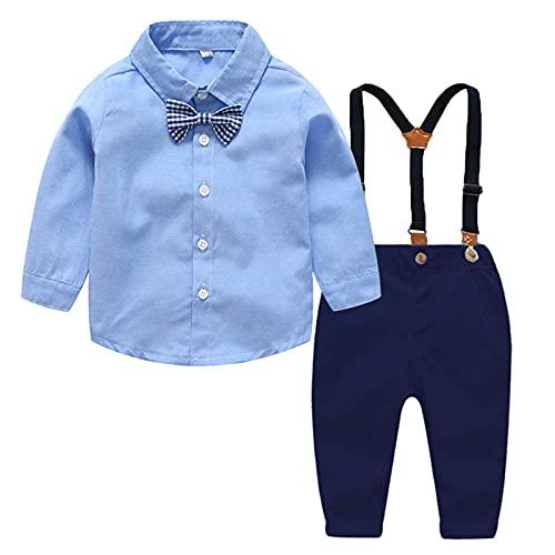 FEESHOW 4tlg Jungen Bekleidungssets Hemd Hose Hosenträger Fliege Kinder Baby Anzug Gentleman Festliche Hochzeit formelle Anzüge Navy Blau_B 86-92