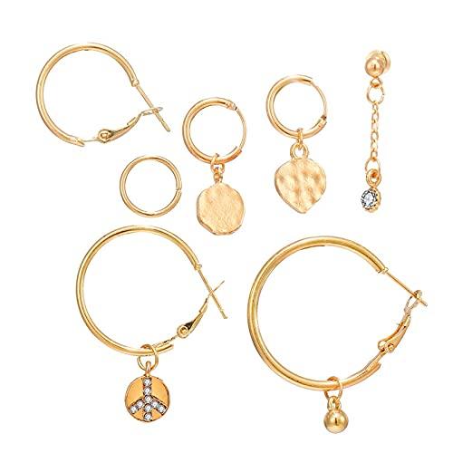 FEARRIN Pendientes Vintage Retro Gold Vintage Gold Crystal Set de Pendientes para Mujer Aleación geométrica Corazón Círculo Pendientes Joyería Bohemia 7pcs / Set